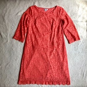 Lacy coral shift dress with 3/4 length sleeves
